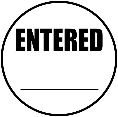 ENTERED Round Border Stock Stamp Imprint