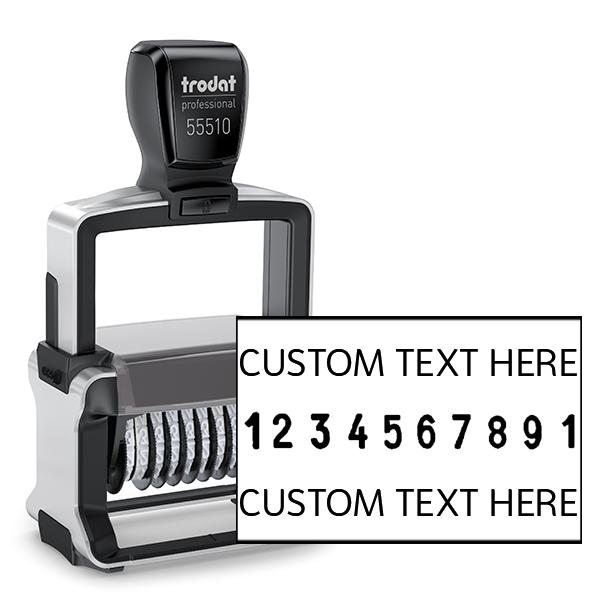 Trodat Professional 55510   10 Digit Numberer & Text Stamp