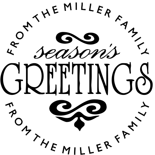 Season's Greetings Round Address Stamp