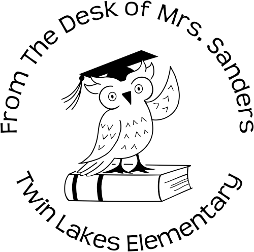 From The Desk Of Round Teacher Stamp w/Owl