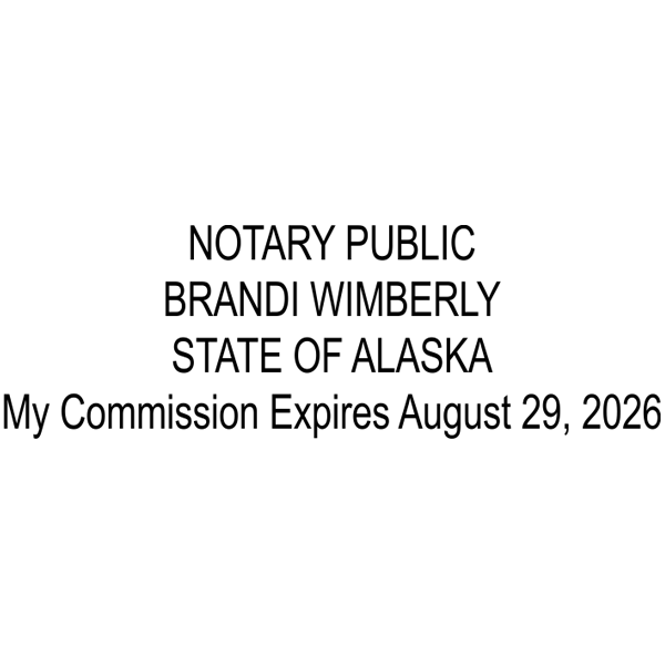 Alaska Notary Pink Stamp - Rectangle Imprint Example