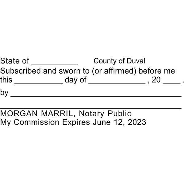 Jurat Notary Stamp Imprint Example