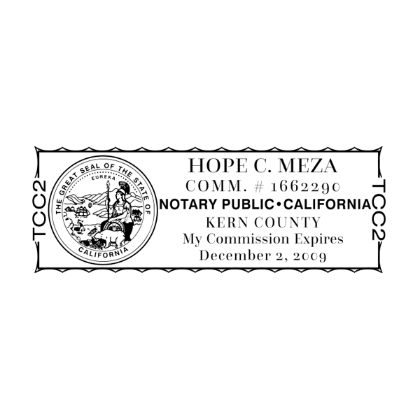 California Notary Pink Stamp - Rectangle Imprint Example