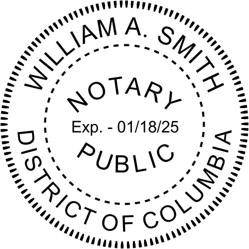 District of Columbia Washington DC Notary Public Seal Imprint