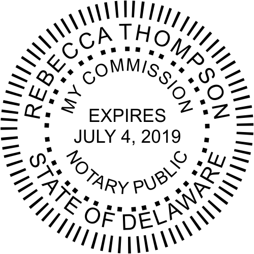 Delaware Notary Public Round Stamp Seal Imprint