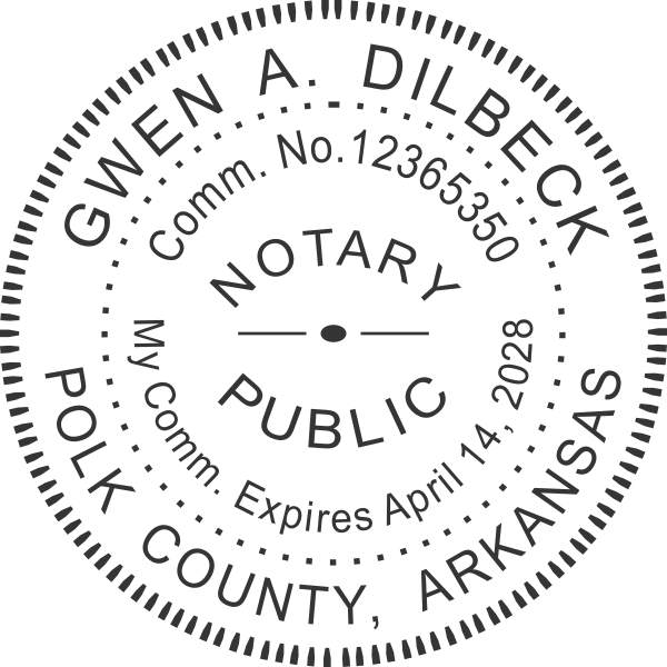 Arkansas Notary Pink Stamp - Round Imprint