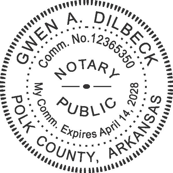 Arkansas Notary Round Seal Embosser Imprint