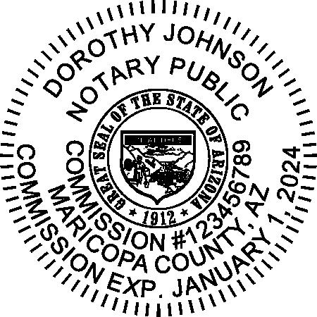 Arizona Notary Round Seal Embosser Imprint