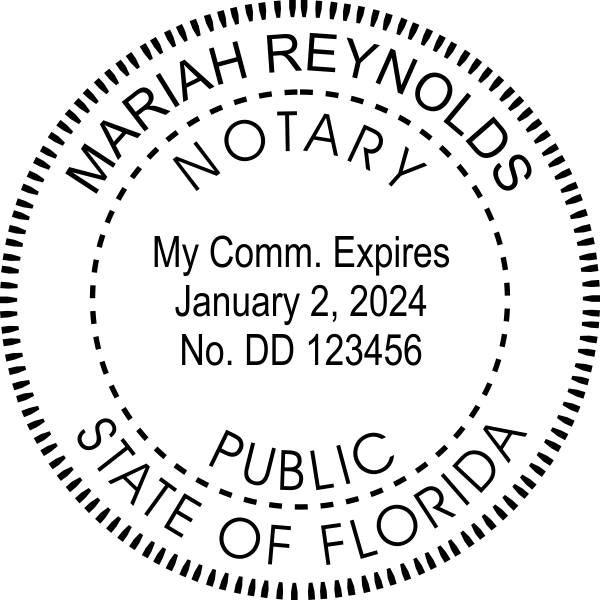 Florida Notary Public Round Seal Embosser Imprint