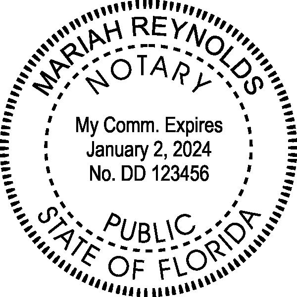 Florida Notary Pink Seal Embosser - Round Imprint