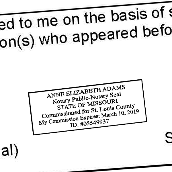 Missouri Notary Rectangle Imprint