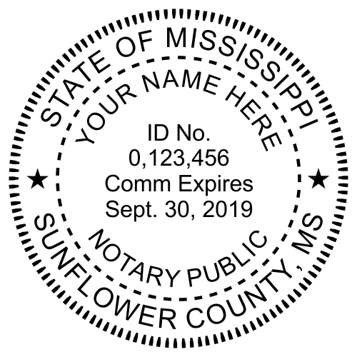 Mississippi Notary Round - Milled Imprint