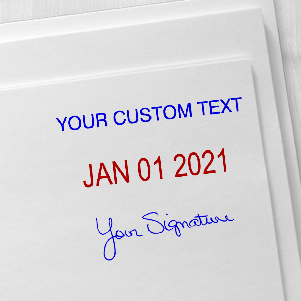 Self-Inking Dater with Signature and Custom Text Imprint Examples on Envelopes