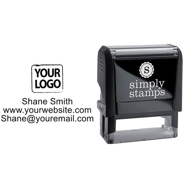 Self-Inking Custom Logo Stamp with Text - Stamp Body and Design