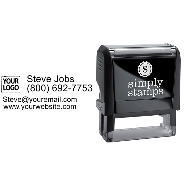 Custom Logo Stamp With 4 Lines of Text - Stamp Body and Design