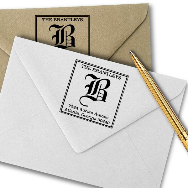 Square Letter Address Stamp Imprint Example
