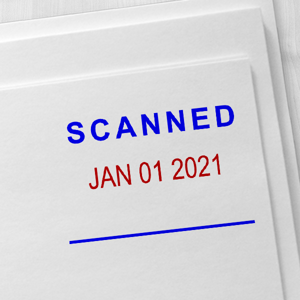 'Scanned' Office Date Stamp Imprint Example