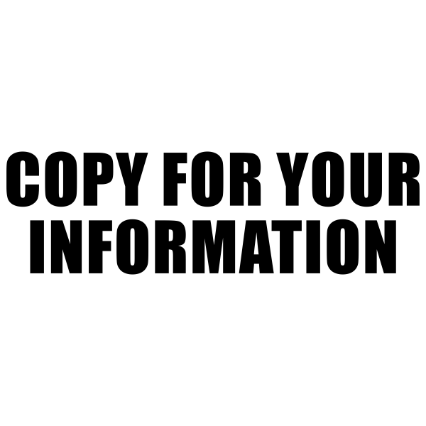 Copy For Your Information Stock Stamp Imprint