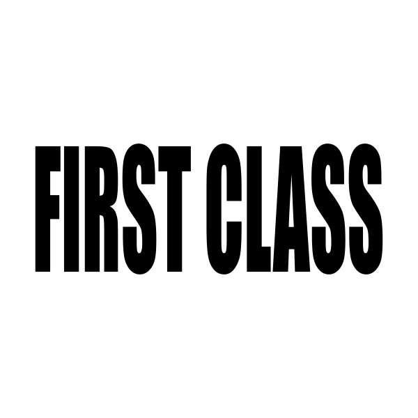 First Class Upper Case Stock Stamp Imprint