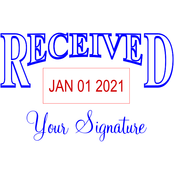 Received Signature Date Bottom Rubber Stamp