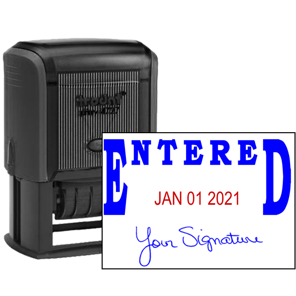 Entered Signature Date Rubber Stamp