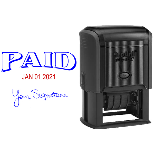 Paid Signature Date Rubber Stamp Body and Design