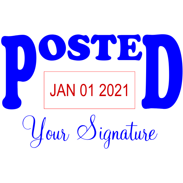 Posted Date Signature Office Stamp