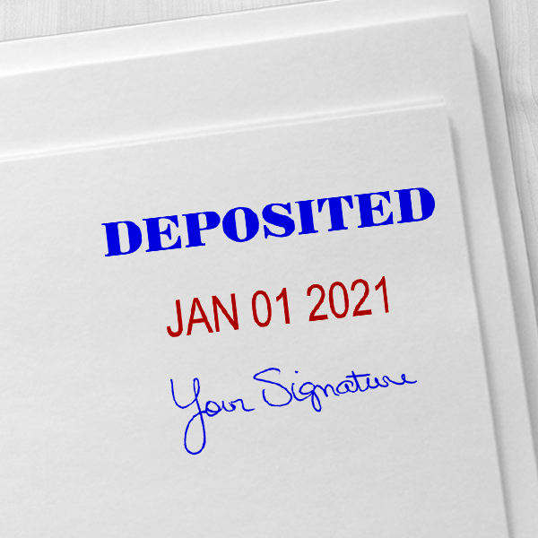 Deposited Signature Date Rubber Stamp Imprint Example