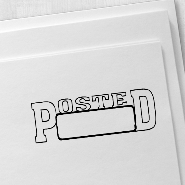 POSTED With Date Space Stock Stamp Imprint Example on Paper