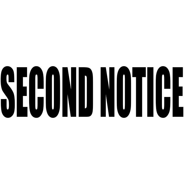 SECOND NOTICE Stock Stamp Imprint