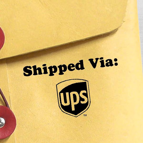 SHIPPED VIA UPS Stock Stamp