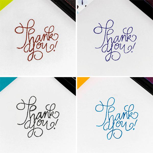 brown, blue, black and aqua ink pads